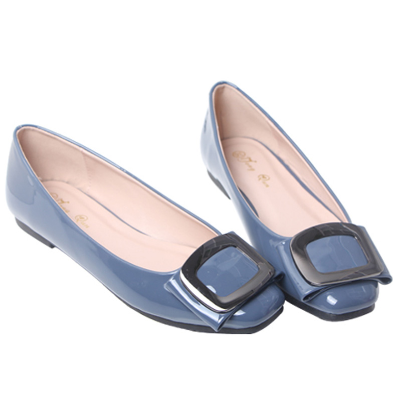 2017 the new single women flat shoes flat shoes black gourd ladle with square buckle soft bottom shoes casual shoes han edition <br><br>Aliexpress