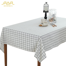 ROMORUS White Black Grey Plaid Table Cloth Modern Tablecloths Rectangular Dinning Table Cover Linen Cotton Household Decoration