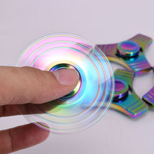 Rainbow EDC Hand Spinner Tri Fidget Focus Desk Toys Stocking Stuffer Kids Adult Puzzle Toy hand helicopter finger spinning wheel