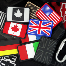 Rubber Germany UK America Canada Italy France Flag Patch 3D Tactical Badge PVC Military Shoulder Emblem Army Armband Brassard(China)