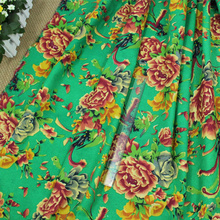 Soft Linen Cotton Fabric Chinese Flowers Printed Fabrics for Sewing Clothes Garments Dress Curtain Decorations 50x140cm 1Pcs/Lot(China)