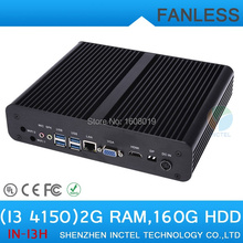 Mini linux embedded cheap fanless mini pc i3 4150 with Intel Core i3 4150 3.5Ghz HDMI VGA DP Three display 2G RAM 160G HDD