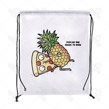 Sweet Lover Pineapple Fruit and Pizza Print Drawstring Backpack Shopping Travel Sack Shoes Gift Bag mochilas feminina(China)