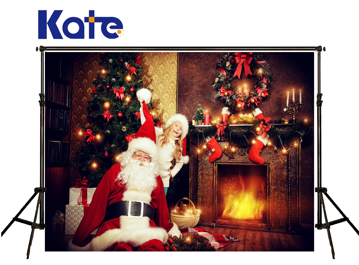 Kate Background Photography Christmas Fireplace Stove Sock Foto Achtergrond Kerst Santa Claus Hat Background For Photo Studio<br>