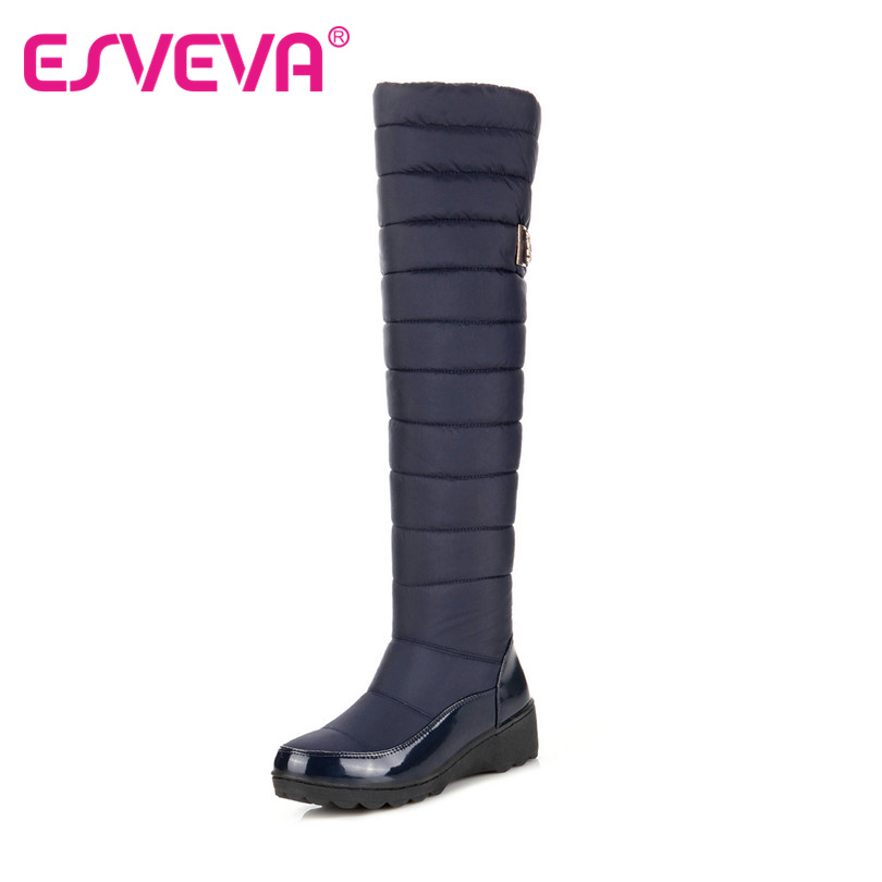 ESVEVA Keep Warm Patent Leather+Down Over The Knee Round  Toe Snow Boots Miss Wedge Heels Slip On Winter Women Boots Size 35-40<br><br>Aliexpress