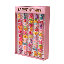 50Pcs Mix Retro Cartoon Plastic Rings Lot for Kids Children Candy Color Flower Animal Finger Rings Birthday Gift Pink Square Box
