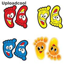 4 colors optional staircase feet stickers children's room bathroom waterproof smiley face baby footprint floor stickers 13x7cm