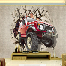 Retro Car Broken Wall Custom Wall Painting Non-woven Wallpaper Living Room Sofa TV Background Photo Wallpaper Papel De Pared 3D