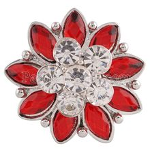 Partnerbeads 20MM Flower snap Silver Plated with Red and clear rhinestones  snaps jewelry KC7196