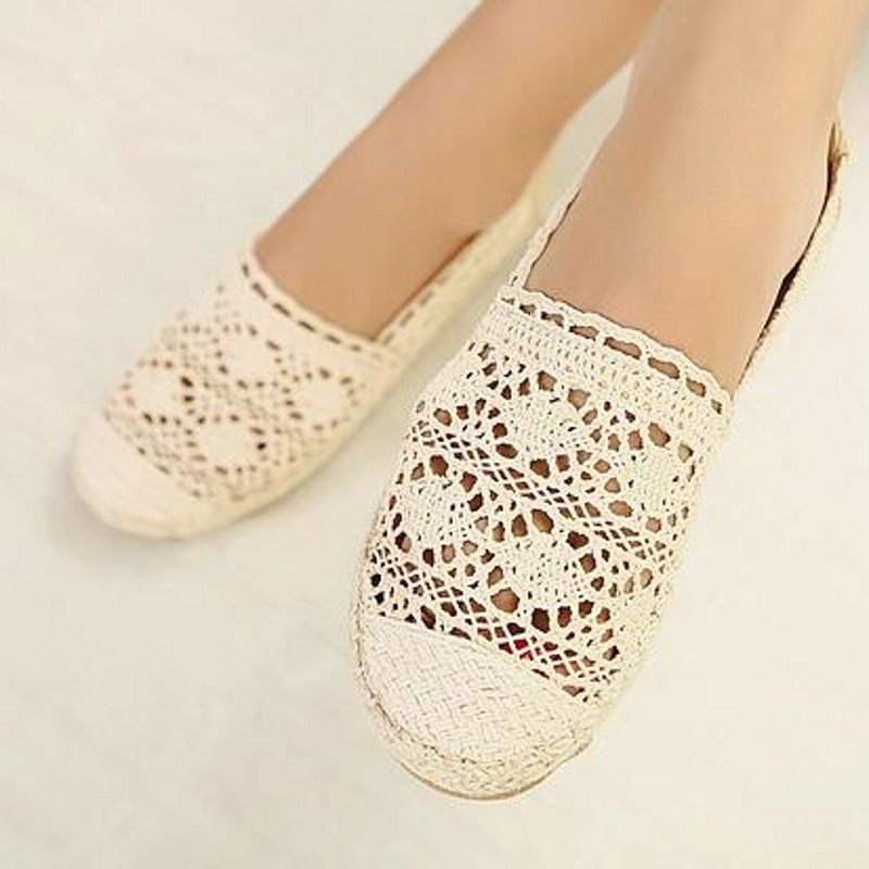 New women casual flat shoes woman slip on fashion round toe cut-outs lace straw weave loafers fishmener boat shoes beige blue<br><br>Aliexpress