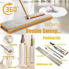 Double Sided Non Hand Washing Flat Mop Wooden Floor Mop Dust Push Mop Home Cleaning Tools