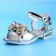 Children summer High-heeled sandals for girls 2017 hot new sweet diamonds bow girl fish mouth sandals 4-16 years Kids shoe girls