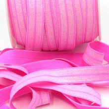 50yds/lot Neon Pink elastic for headband Hair Accessory 1.5CM Glitter Elastic FOE Free Shipping