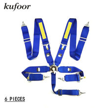Kufoor 6 Pieces 2017 3 inch 5 point Quick Release Blue Racing Safety Belts/Seatbelts/Harness(China)