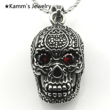 Skull Charms Skellington Red pendant Stainless Steel men Necklace Punk Biker Wholesale KP163