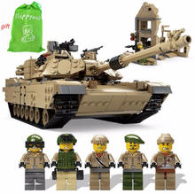 Happywill New1463pcs KY10000 Military Tank 1:28 Abrams MBT M1A2 deformation Hummer model army soliders figures toys compatible