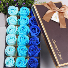 18pcs A Set Romantic Rose Soap Flower Heads Artificial Flowers Bathing Petals Box For Valentine's Day Wedding Decoration Gift(China)