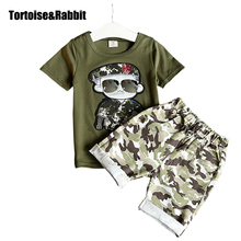 Summer Children Boy Clothes Sets Kids 2pcs Short Sleeves T-Shirt Toddler Suits Camouflage Shorts Child Clothing Suits