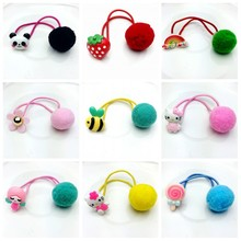 AKWZMLY Korean Cute Flower Kitty Headband Ball Elastic Hair Band Ponytail Holder Girl Hair Clip Animals Hair Accessories 6pcs