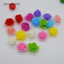100Pcs/lot 3.5CM PE Artificial Flowers Small Foam Rose Head Wedding Bride Bouquet DIY Handcraft Wreath Wedding Party Decor 9Z
