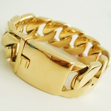 21cm*26mm Huge Heavy Yellow Gold Cuban Curb Casting Link Chain 316L Stainless Steel Strong Men's Cuff Bracelet Jewelry 179g