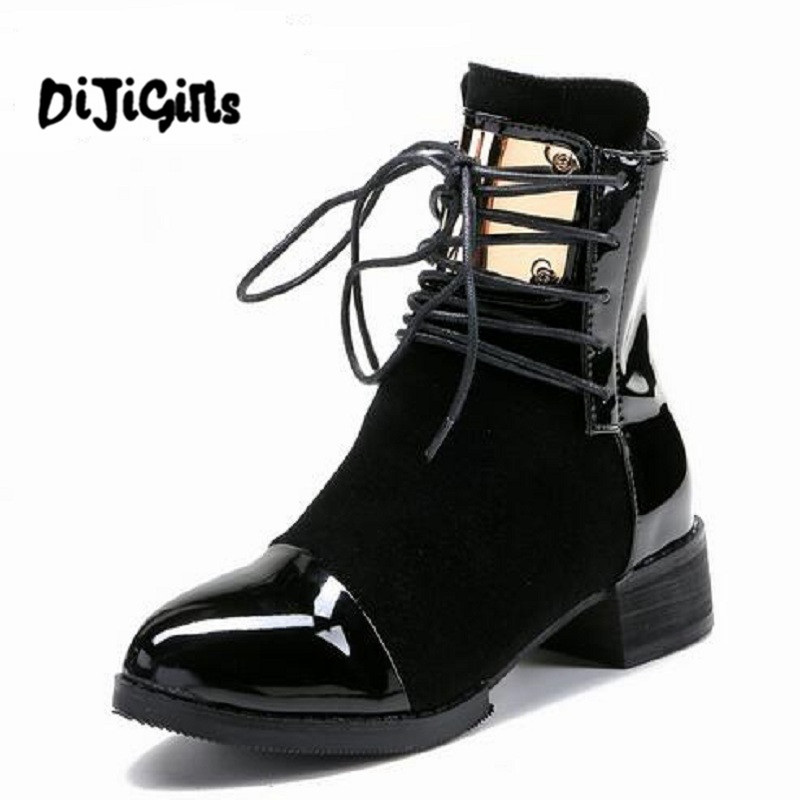 35-43 Women Boots Genuine Leather Flat Martin Ankle Boots Womens Motorcycle Boots Autumn Shoes Women Winter Patent leather Botas<br>