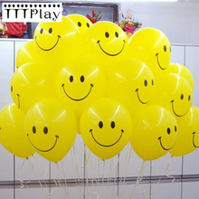 10pcs/lot 12inch Yellow Smiley Face Latex Balloons Air Balls Inflatable Wedding Party Decoration Birthday Party Balloon Supplies