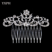 YXPH Woman Hairwear Wedding Jewelry Brautschmuck Bride Haircomb Rhinestone Alloy Delicate Accessorie Fashion Crystal Peigne Comb
