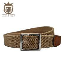 New elastic braided men belts woven strap genuine leather tip & head classic design casual style for jeans(Brown)(China)