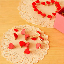 20Pcs Mini Cute Red Heart Wooden Pegs Photo Clips Note Memo Holder Card Craft Wedding Room Decor
