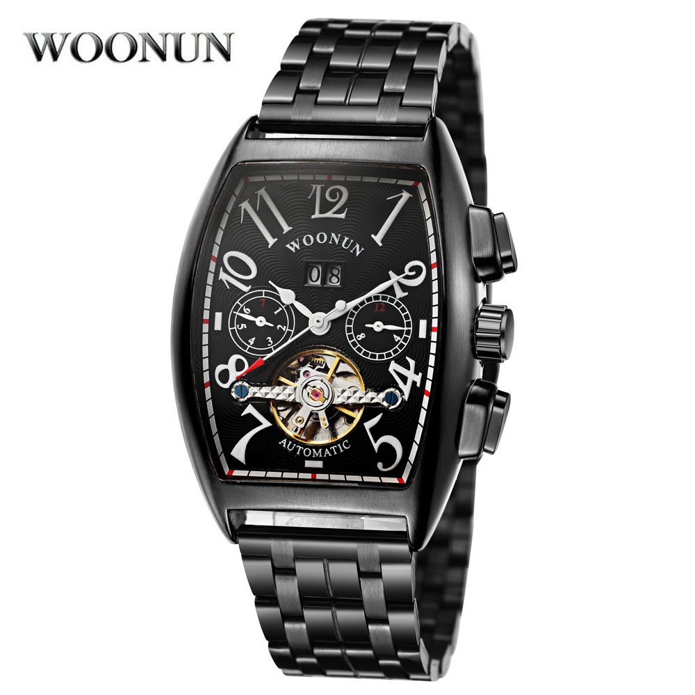 2018 New Design Tonneau Stainless Steel Watch Fashion Skeleton Automatic Mechanical Tourbillon Watches Mens Watch Male Clocks<br>