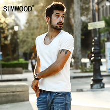 Buy SIMWOOD 2018 Summer New T shirts Men Short Sleeve Skinny Slim Fit Plus Size Brand Clothing Plus Size TD017011 for $12.54 in AliExpress store