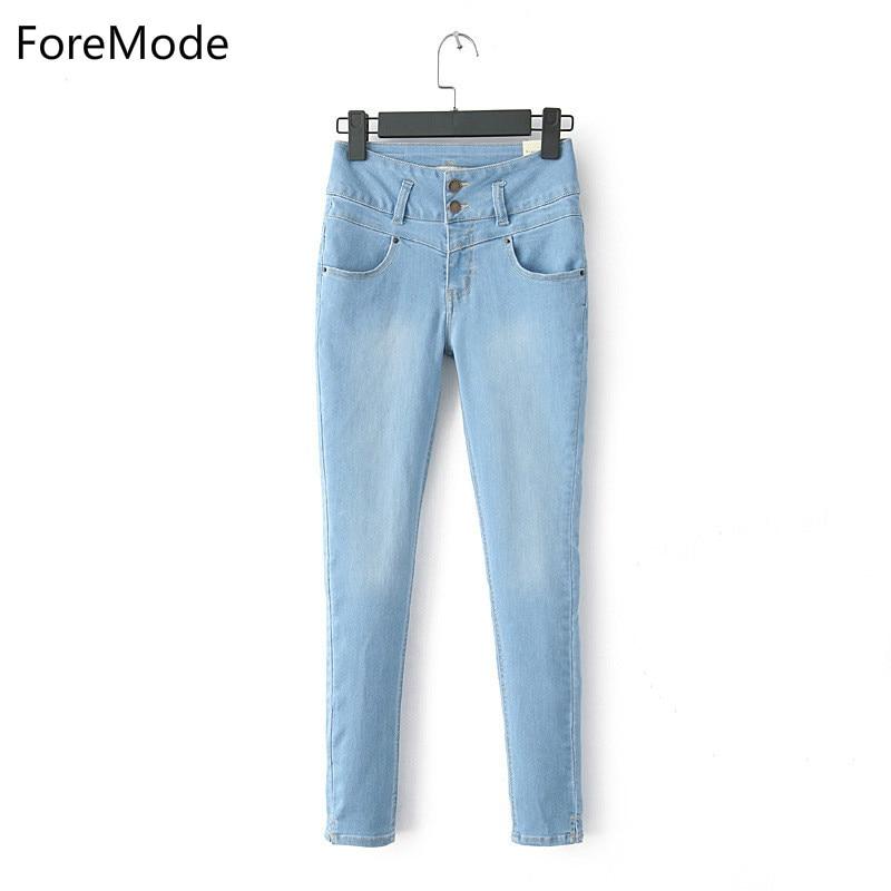 ForeMode Women Pencil Jeans High Waist Skinny Denim Jeans Female Black Blue Pencil Pants Women Jeans ButtonОдежда и ак�е��уары<br><br><br>Aliexpress
