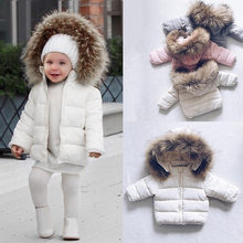 2018 Winter Kids Snowsuit Baby Girls Winter Coat Infant Children Clothing Fur Collar Hooded Thick Jacket Baby Girl Boy Clothes(China)