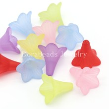 Doreen Box hot- Acrylic Beads Flower Mixed Frosted 22x22mm,Hole:Approx 2mm,50PCs (B24655)(China)