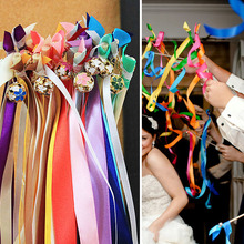 Fashion Wedding Ribbon Bell Fairy Stick Magic Wand Married Decoration Lace Wand Celebration Bell Stick Wedding Ribbon Wands Gift
