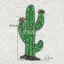 Кактус сафлора Вышивка Кружева Аппликация блестка ткань свитер Одежда патч блестками наклейки футболка DIY украшения(China)