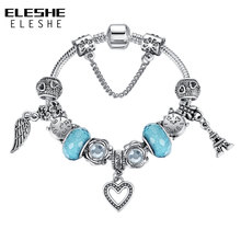 ELESHE Silver Color Feather Wings Heart Charm Bracelet for Women Murano Glass Beads Bracelet&Bangle Original Puseiras Jewelry(China)