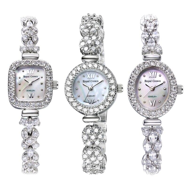 Womens Watch Japan Quartz Fashion Luxury Jewelry Crystal Hours Mother-of-pearl Bracelet Rhinestone Girl Gift Royal Crown Box<br>