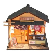 Sunny grocery store Japanese DIY Wood doll house 3D Miniature Dust cover+Lights+Furnitures Building model Home&Store decoration