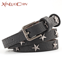Buy Fashion PU Leather Women Belt Star Metal Buckles Thin Woman Corset Belt Dress Accessories WB052 for $4.39 in AliExpress store