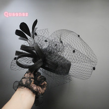 Gray Black Sinamay Beret Top Hat Fascinator Feather Dotted Veil Headpiece For WOmen Banquet Royal Party Bride Hair Accessories