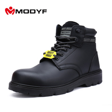 Modyf Men Army Winter Boots Oxford Steel Toe Work Safety Shoes Military Outsole High Quality Leather Footwear Protective(China)
