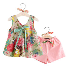 Summer Girls Flower Vest And Shorts Sets Toddler Girl Fashion Trends Outfits Girls Sweat Suits Kids Tracksuit Child Garment