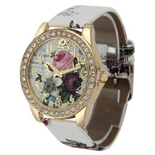 HELLO Wristwatches 6Colors Women Dress Watches Flower Rose Pattern Rhinestone Quartz Bracelet Bangle Watches 2016 New Hot