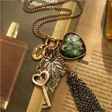 IPARAM high quality retro peacock feather necklace fashion leaves peach heart tassel personality sweater chain necklace(China)