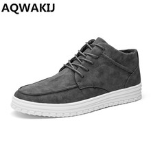 AQWAKIJ New 2018 High Top Winter Shoes Fashion PU Leather Men Boots Brogue Ankle Motorcycle Boots Leisure men's boots Flat boots(China)