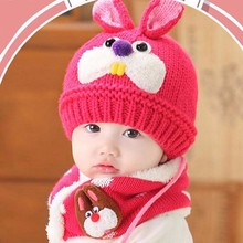 KLV Baby Scarf Hats Boys Girls Children Rabbit Teeth Scarf Knitted Warm Caps Props For 1-3 Years(China)