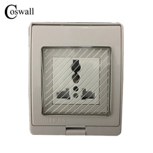 IP55 Report CE Wall Waterproof Dust-proof Power Socket, Universal Electrical Weather Resistant Outdoor Outlet Grounded()