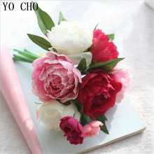YO CHO 9 Heads Artificial Flowers Roses Bouquet Silk Flower European Fall Vivid Peony Fake Leaf Wedding Home Party Decoration(China)